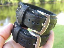 Men`s Bracelet black Buffalo Bison leather adjustable sizable 7 to 8 inch wrist