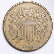 1864 Two Cent Piece CHOICE AU FREE SHIPPING E144 UNM