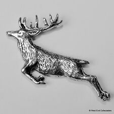 Springing Red Deer Stag Pewter Pin Brooch -British Artisan Signed Badge- Farming