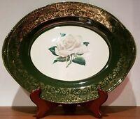 Homer Laughlin Lady Greenbriar Platter, Green and 24K Gold design, yellow rose