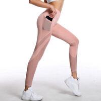 Women Fitness Yoga Pants Mesh Pockets Patchwork Leggings Gym High Waist Trousers
