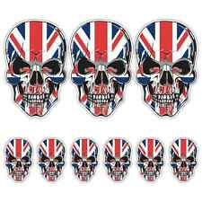 SKULL UNION JACK LAMINATED STICKER SET UK Flag Car Motorbike Triumph Guitar