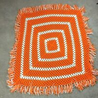 Home Made Hand Crocheted Afghan Throw Blanket Orange White Square