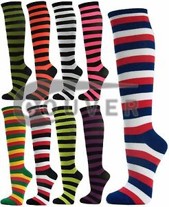 Couver Premium Quality Women's Colorful Striped Cotton Tube Knee High Socks
