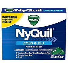Vicks NyQuil Cold - Flu Nighttime Relief LiquiCaps 24 ea (Pack of 3)