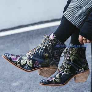 Women Suede Floral Lace Up Ankle Boots Plus Size Winter Block Heels Shoes Fgg01