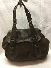 ABACO Large Brown Leather, Velour Purse, Shoulder Bag