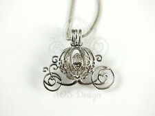 Cinderella Pick A Pearl Cage Carriage Silver Necklace Princess Pumpkin Locket