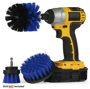 3 x Power Scrubber Cleaning Drill Brush Tile Grout Tools Tub Cleaner Combo Blue