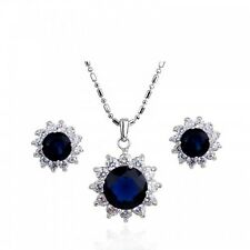18K WHITE GOLD PLATED GENUINE SAPPHIRE BLUE/CLEAR CUBIC ZIRCONIA JEWELLERY SET