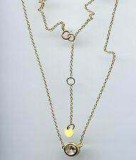 925 YELLOW GOLD VERMEIL & 1/2 CARAT 5MM BEZEL SET CZ SOLITAIRE NECKLACE