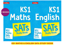 NEW KS1 SATS MATHS & ENGLISH STUDY BOOKS REVISION (2 BOOK BUNDLE)