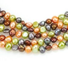 6-7mm Brown Orange Lime Mixed Colour Baroque Nugget  Freshwater Pearls Beads