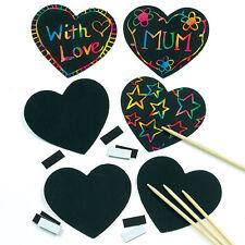 Heart Scratch Art Fridge Magnets Kids Craft Activity Party Bag Filler Gift