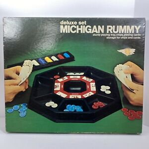 VINTAGE MICHIGAN RUMMY DELUXE SET PLASTIC GAME BOARD #2467 CARD GAME 1974 LOWE