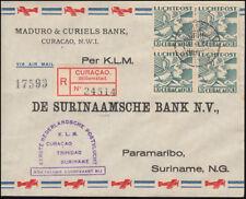 1. KLM-Flugpost Curacao-Trinidad-Suriname R-Brief CURACAO Willemstad. 22.8.1938