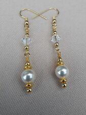 Swarovski Pearl earrings. Swarovski drop dangle earrings. Gold plated hooks