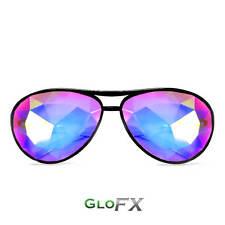 GloFX Aviator Style Kaleidoscope Glasses - Black Rainbow Lenses Kaleidoscopic