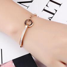 Edelstahl Damen Armband mit Zirkonia Steinen Armreif Roségold Bracelet S879M
