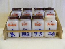 MILK GLASS SPICE SHAKERS WITH RACK, DUTCH FIGURES - SET OF 8