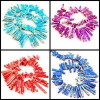 "55mm Large Jasper Stick Loose Beads 15"" Blue,Orange-red,purple Free Shipping"