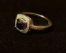 Ring Massiv Silber und Stein Blau - Größe 56 (566)