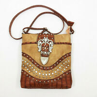 VGC Tan Brown Faux Leather Western Shoulder Bag