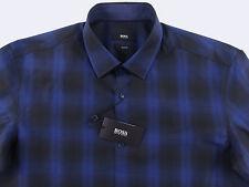 Men's HUGO BOSS Black Blue Mod Plaid Shirt 2XL XXL NWT NEW $165 Slim Fit NEMOS
