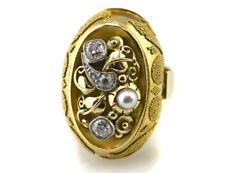 Antiker Ring mit Granulationen in 585 14K Gelbgold, 4 Diamanten zus. 0,70 ct