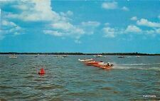 1963 Speed Boat Racing Fox Lake Wisconsin Cook postcard 6484