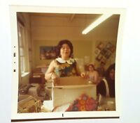 Vintage 70s Photo Cute Asian Delighted Unwrapping Gifts At Office Birthday Party