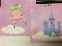 "Canvas Paintings - Artwork for Girl's Room - Pink 9"" x 9"" - set of 2"