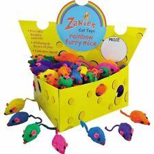 Box of 60 Zanies Real Fur Rattling Rainbow Mice in Cheese Box