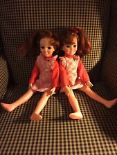 1969 VINTAGE IDEAL CRISSY DOLLS WITH DRESSES/HAIR WORKS SET OF 2