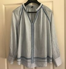 Mink Denim Top Blue and White Stripe V Neck Long Sleeve Plus size Small Cotton