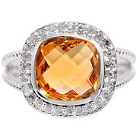 Natural Golden Citrine 925 Sterling Silver Ring s.6.5 Jewelry 9926