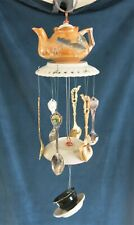 Adorable tea party wind chime, teapot, teacup and saucer, hanging mobile,dragon