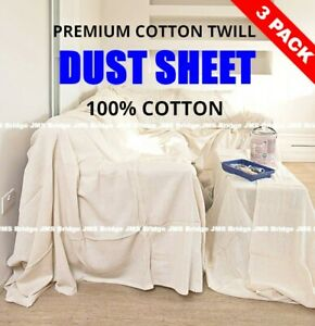 THREE HEAVY DUTY COTTON TWILL PROFESSIONAL DECORATING LARGE DUST SHEETS