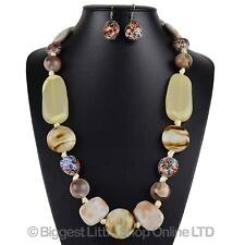 NEW Ladies Long Colourful NECKLACE & EARRING SET Ribbon Evening Summer Statement