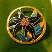 Vintage Black Lily Flower Cloisonné Enamel Gold tone Brooch Pin 4b 109