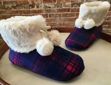 Cuddl Duds Navy Pink Plaid Faux Fur Lined Pom Pom Ankle Boot Slipper M 7-7.5 New