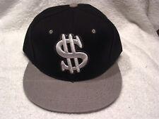 DOLLAR SIGN MONEY SNAPBACK  FLAT BILL BASEBALL CAP HAT ( BLACK & GREY )