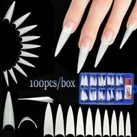 100Pcs Extra Long Stiletto False Nail Tips Full Cover Nail Art Extension Tip Set