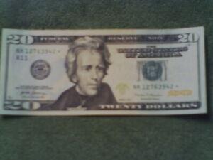 Fancy $20 Bill w/Birthday Star Note Serial #12763942