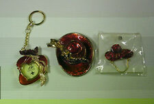 RED HAT HINGED TRINKET BOX,KEY CHAIN PICTURE FRAME & PIN RED HAT LADIES