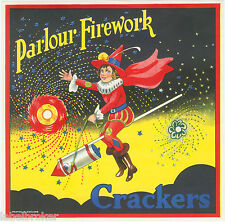 GENUINE LABEL VINTAGE FIRECRACKERS ENGLAND 1930S CLOWN WITCH RIDING ROCKET FIRE