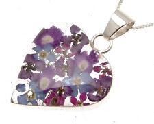 Señoras Corazón Colgante Azul Y Morado Flores De Plata 114458
