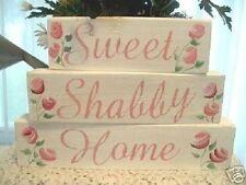 Chic Shabby Wooden Shelf Blocks Sweet Shabby Home Pink Roses Handpainted