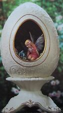 "FRANKLIN MINT EGG SECRET FAIRY GARDEN PORCELAIN 24K ACCENTS  6"" NIB $175 N 1999"