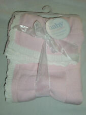 BABY BY CARTERS PINK KNIT SWEATER BLANKET PINK CREAM IVORY TRIM SQUARE SCALLOP
